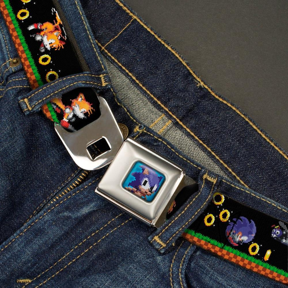 1.5 Wide Buckle-Down Seatbelt Belt Sonic /& Tails//3-Enemies//Rings Pixelated Game Play Scene Black 32-52 Inches in Length