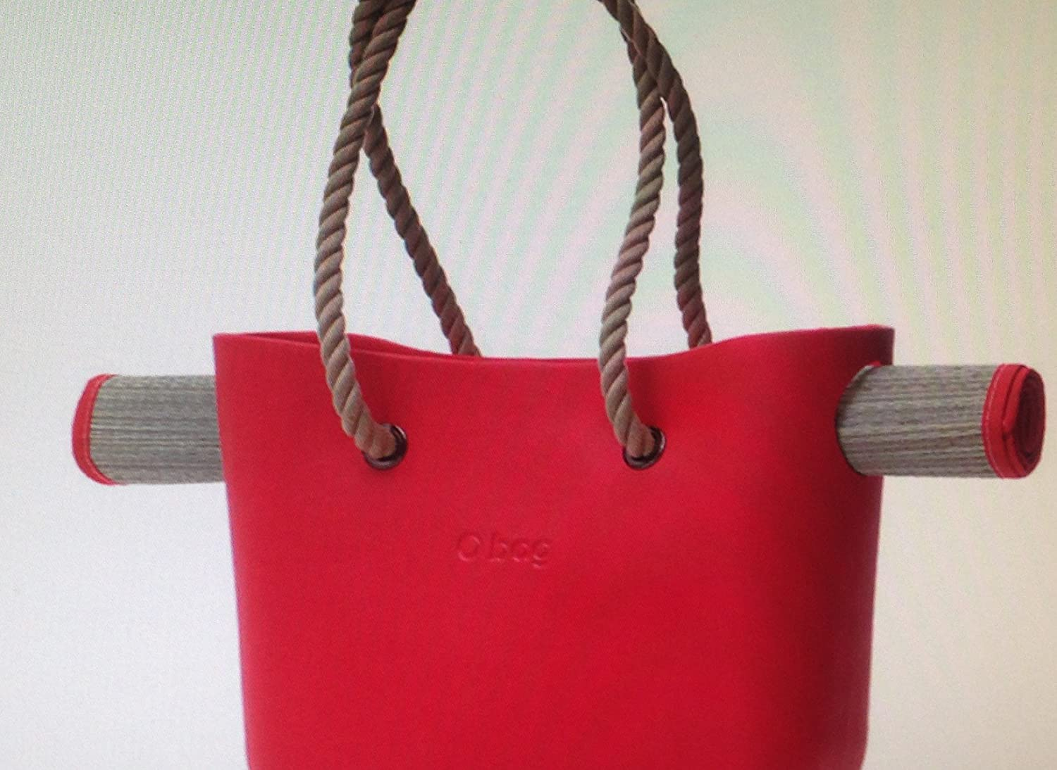 aa8b172a3 Obag Beach Bag - Shopping Tote Purse in Rock with Rope Handles Red:  Amazon.co.uk: Kitchen & Home