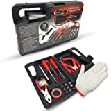 Car Roadside Auto Emergency Kit – Mechanic Tool Set as Safety Survival Kit with Jumper Cables, Screwdriver Set, Pressure Gauge, Work Gloves and Socket Set, Perfect Car Tools Case for Car, Motorcycle
