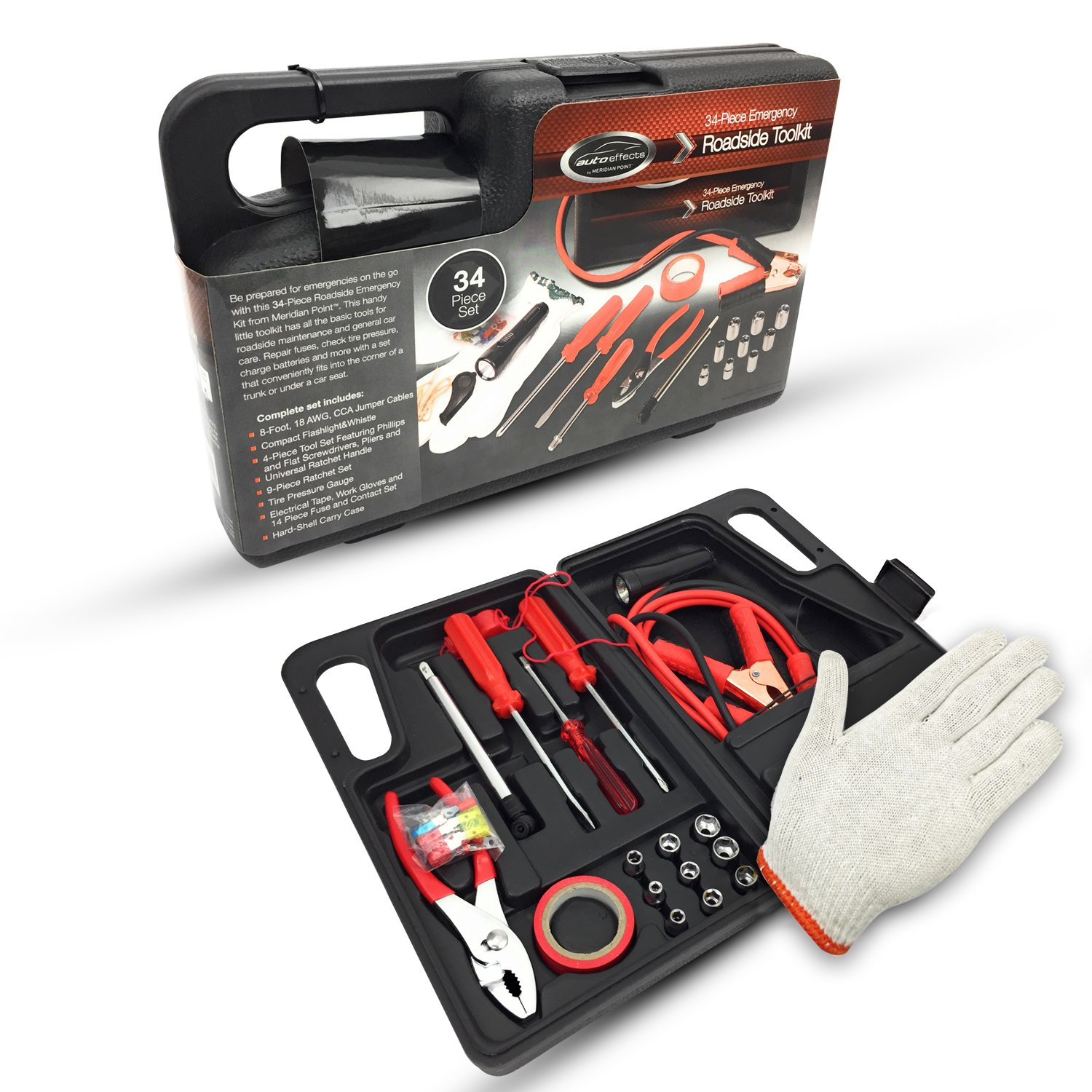Work Gloves and More Pressure Gauge Screwdriver Set 34 Piece Travel Tool Set as Safety Survival Kit with Jumper Cables Ideas In Life Car Roadside Auto Emergency Kit