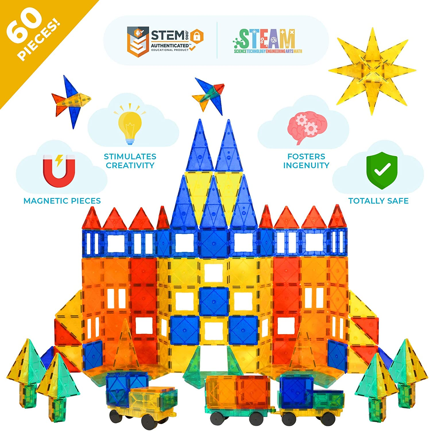 Tytan Magnetic Tiles & Building Blocks - STEM Certified Toys, Magnets for Kids, Boys/Girls Fun, Creative, Educational - (60)