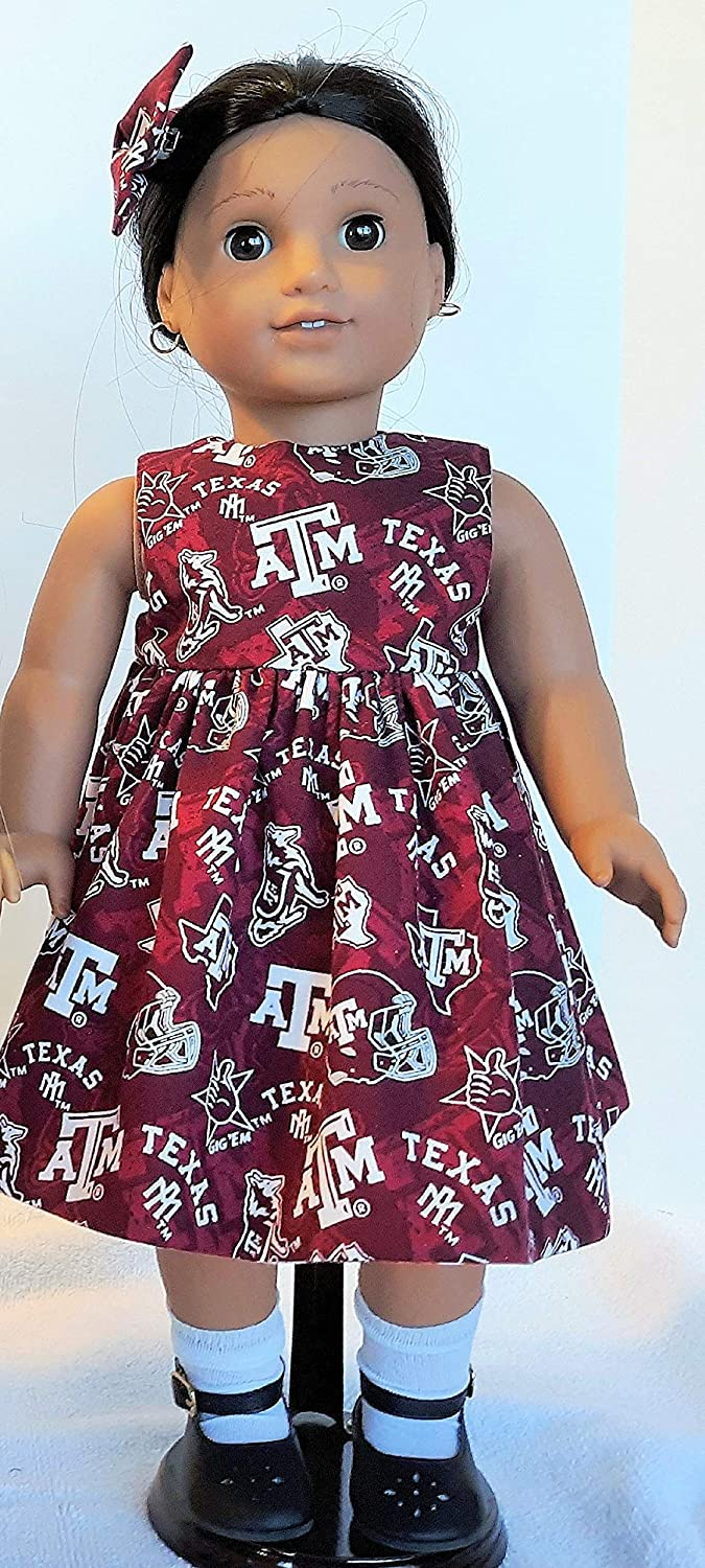 House Divided University of Texas Texas A /& M Reversible Football Dress 2 Hair Bows and One Pair of Black Shoes That Fits American Girl 18 Dolls