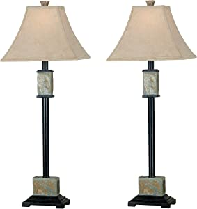 Kenroy Home 31201 Rustic Buffet Lamp 2-Pack, 32 Inch Height, 12 Inch Width,10 Inch Extension with Natural Slate Finish