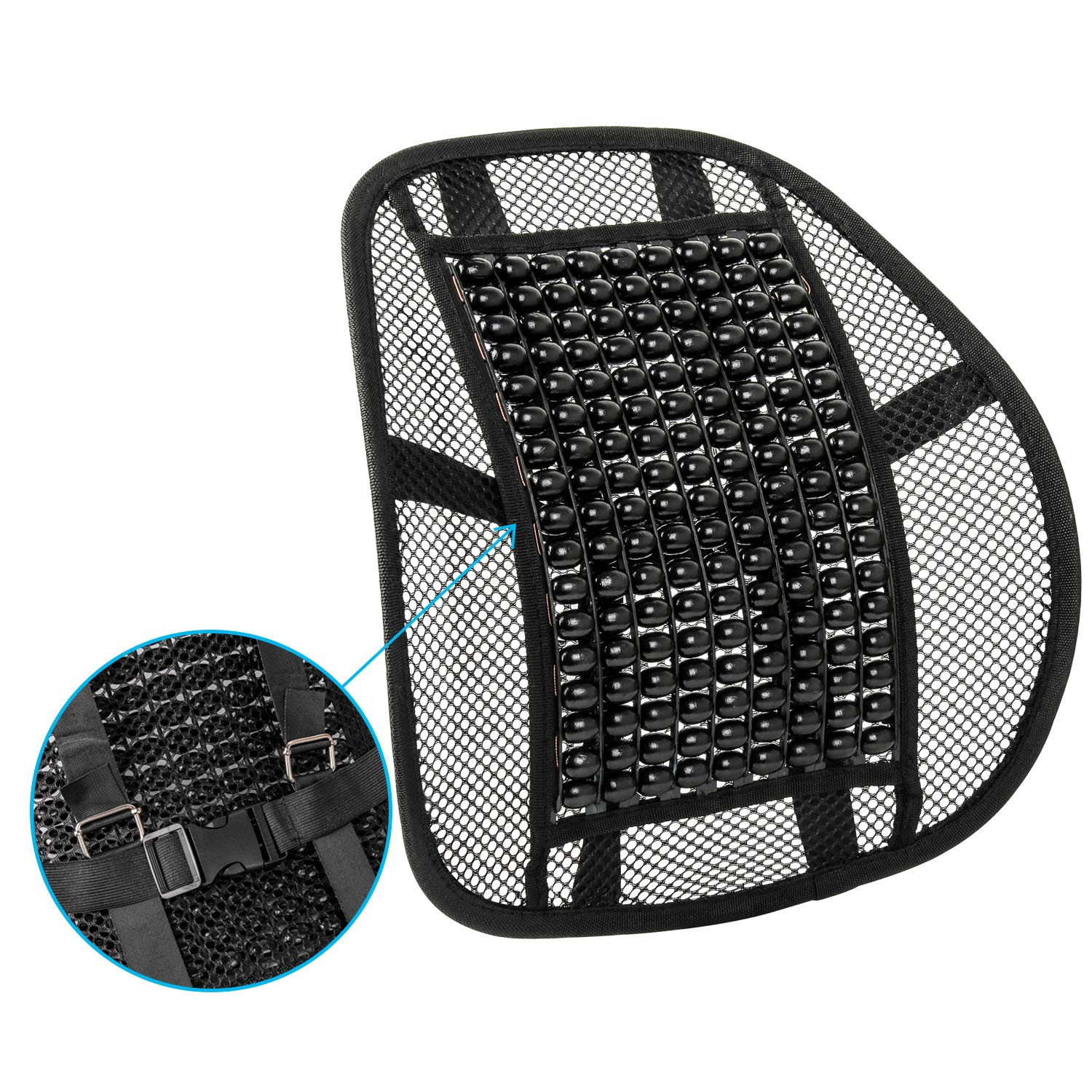 ACVCY Mesh Back Support for Office Chair or Car Seat,Breathable Comfortable Lumbar Support Cushion with Adjustable Strap for All Types Car Seats Office Chair 13.6'' x 17''
