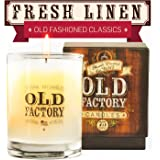 Scented Candles - Fresh Linen - Decorative Aromatherapy - 11-Ounce Soy Candle - from Old Factory Candles
