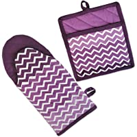 """DII Cotton Ombre Chevron Oven Mitt 13 x 6"""" and Pot Holder 8 x 9"""" Kitchen Gift Set, Machine Washable and Heat Resistant for Cooking and Baking"""