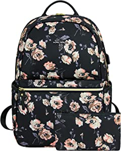 KROSER Laptop Backpack 15.6 Inch Stylish College School Backpack with USB Charging Port Water Repellent Floral Casual Daypack Computer Bag for Women/Girls/Travel/Business (Rose Pattern)