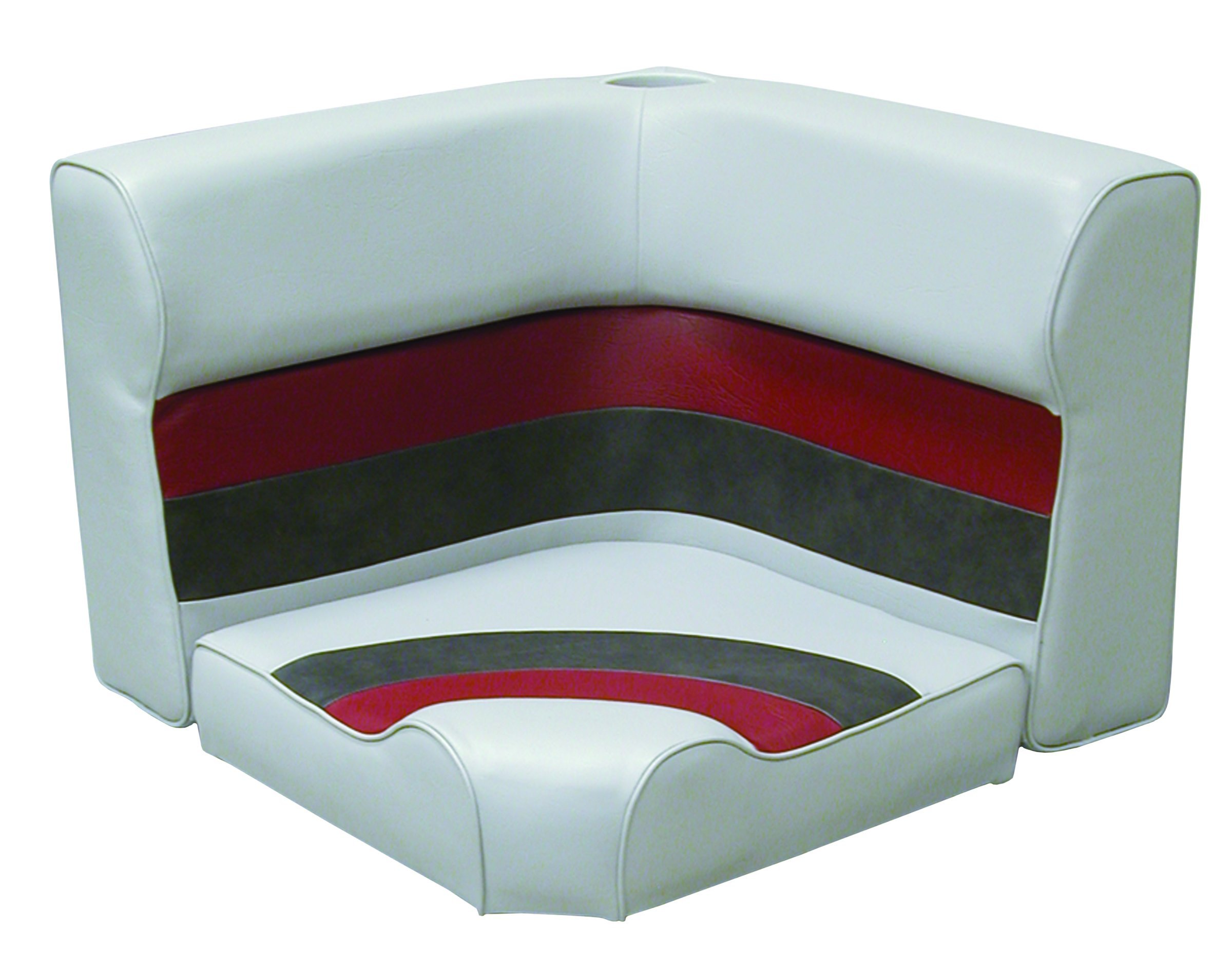 Wise 8WD133-1012 Pontoon Corner Radius Section Seat Cushion Only, Gray/Red/Charcoal, Medium