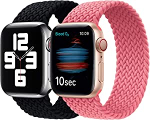 Girovo 2 Packs Solo Loop Strap Compatible with Braided Sport Apple Watch Band 38mm 40mm, Soft Stretchy Braided Wristband for iwatch Series 1/2/3/4/5/6/SE, Charcoal & Pink, M