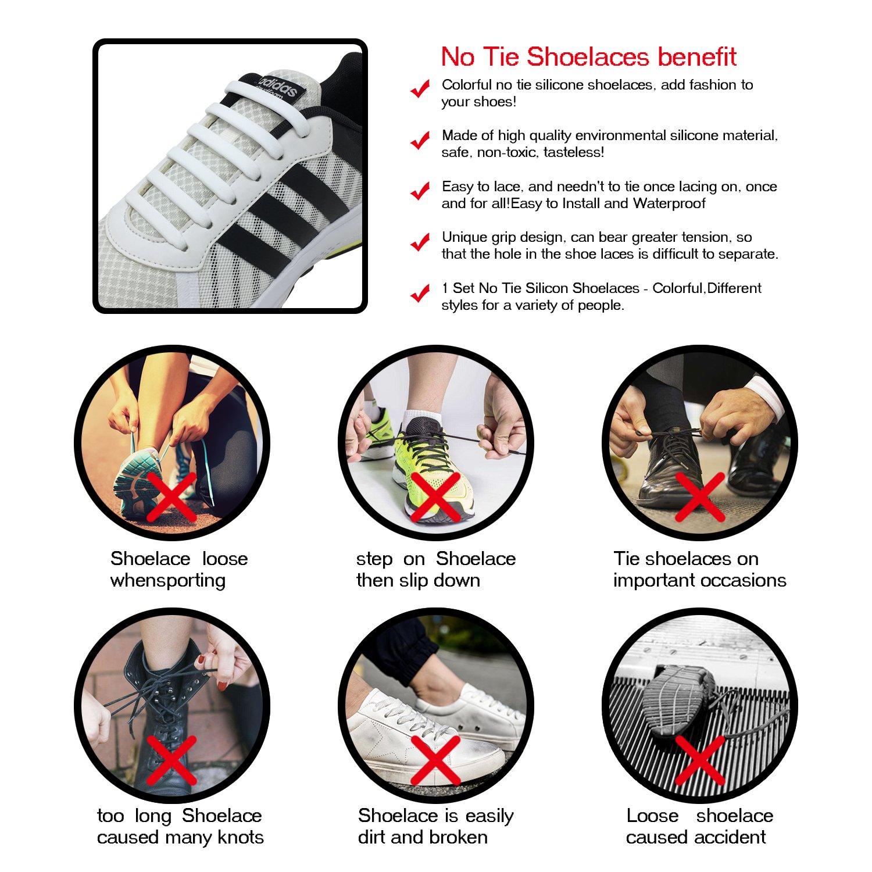 Newkeen 4 Pairs No Tie Shoelaces für Kinder und Erwachsene Wasserdichte Silikon flache elastische Sportlauf Schnürsenkel mit Multicolor für Sneaker Stiefel Brettschuhe und Freizeitschuhe Laces-016-4Pack