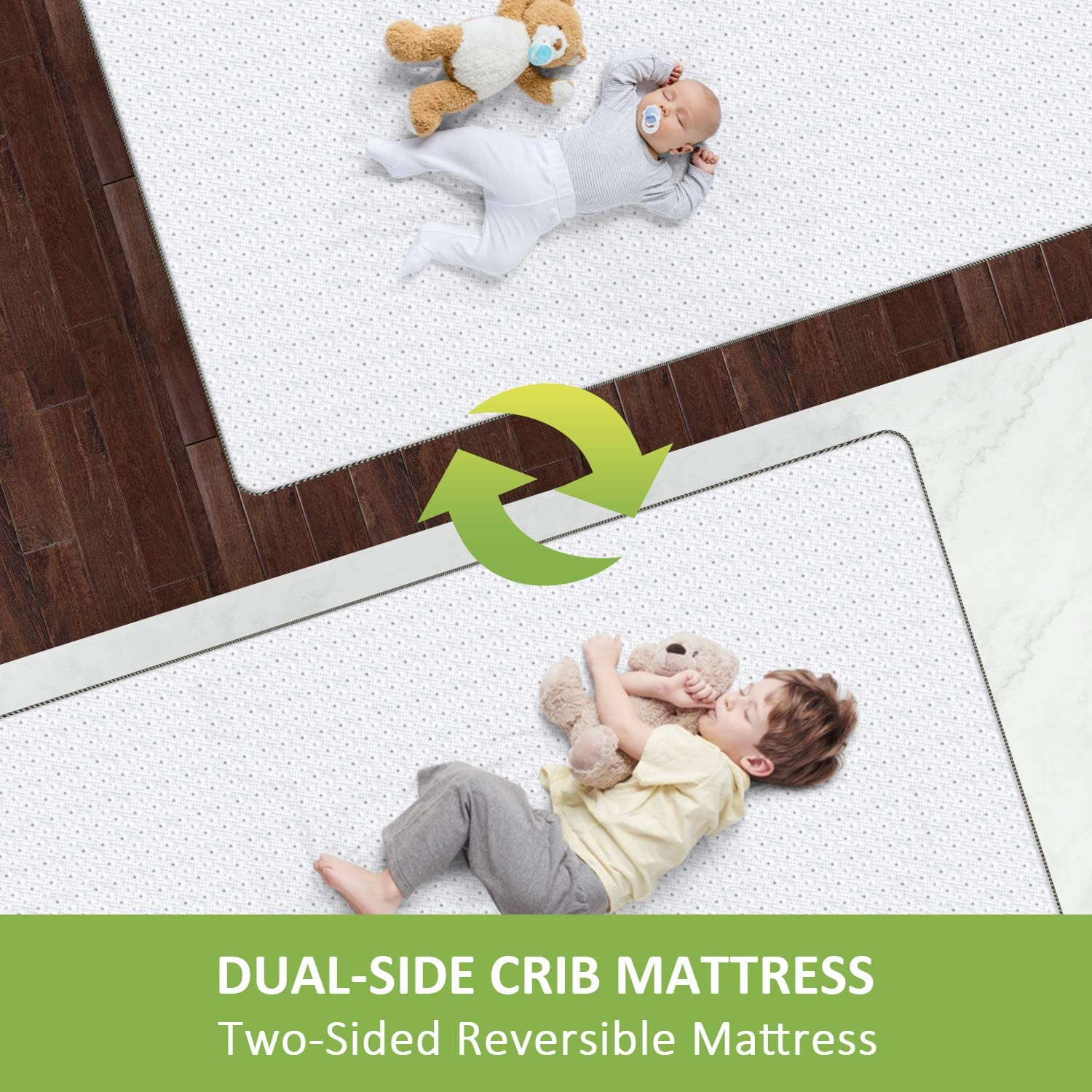 Standard Size Crib Mattress for Infant Baby and Toddler Dourxi Crib Mattress Toddler Mattress Dual Sided Comfort Memory Foam Mattress with Removable Breathable Cover and Extra Waterproof Protector