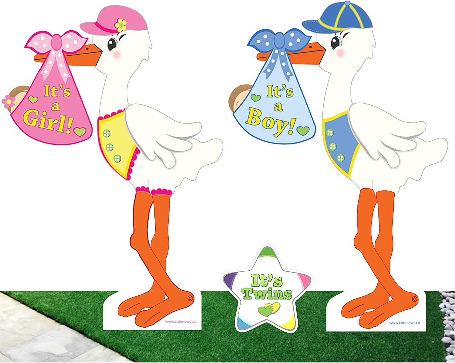 Cute News Outdoor Twin Stork Baby Yard Signs and It's Twins Star Announcement - Welcome Home Newborn and Shower Party Lawn Decor - Boy and Girl Birth Decoration Gifts - Pink and Blue - 4 Feet Tall