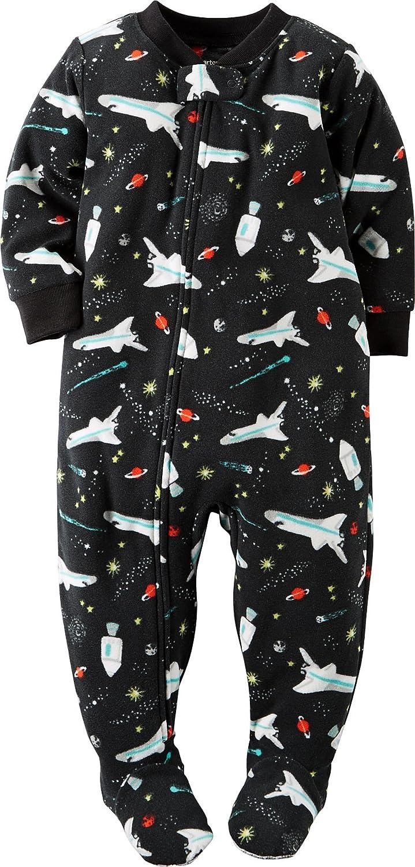 58b6fdd39d1a Amazon.com  Carters Baby Boys 1-Piece Fleece PJs Space Print Black ...