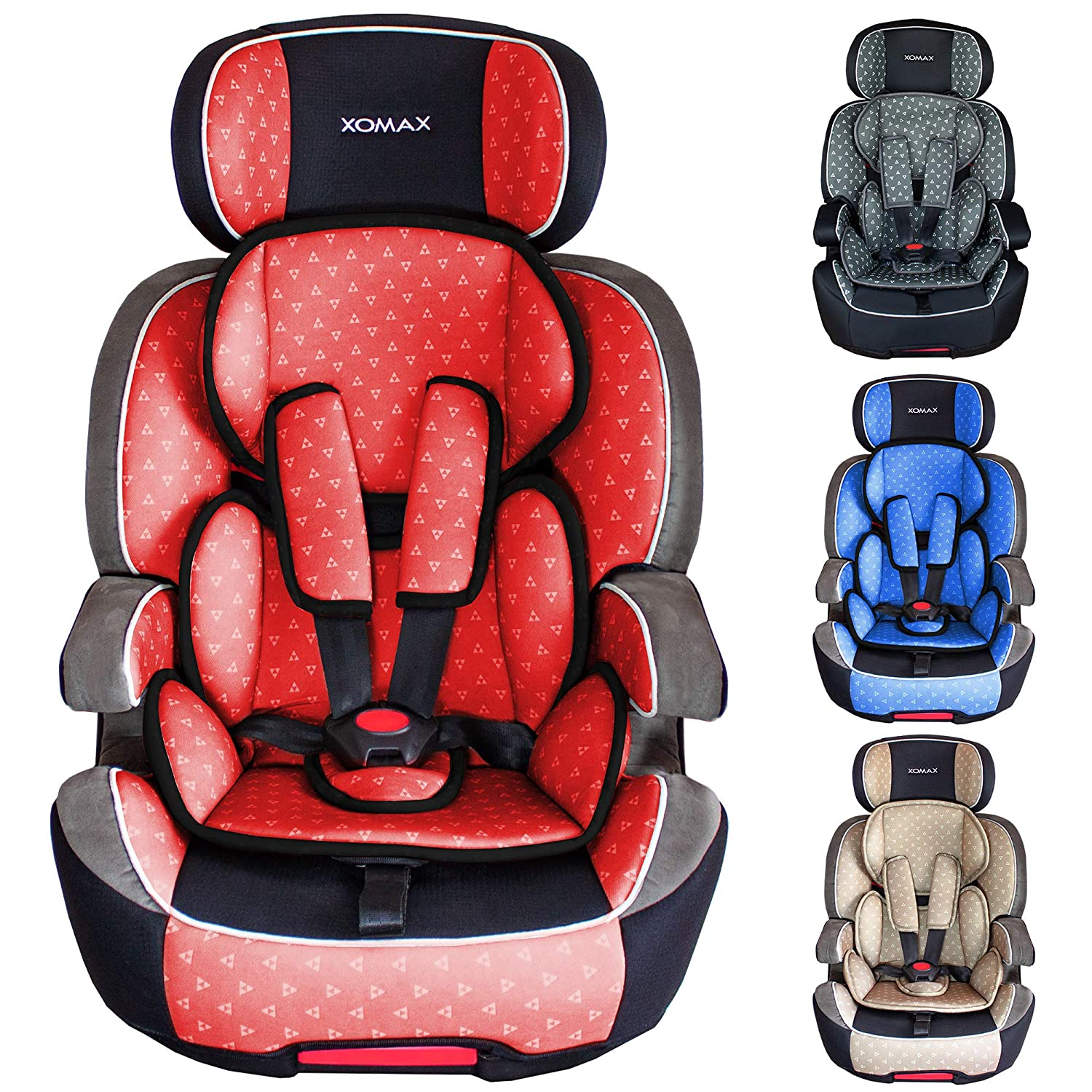 XOMAX XL-518 Child car seat with ISOFIX I growing with your child I 9-36 kg, 1-12 years, group 1/2/3 I 5-point harness and 3-point harness I cover removable and washable I ECE R44/04 I grey/black