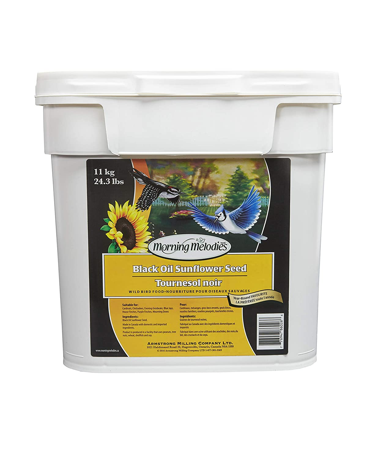 Morning Melodies 409-263 Black Oil Sunflower Seed Pail 11kg, 1 Piece, Large