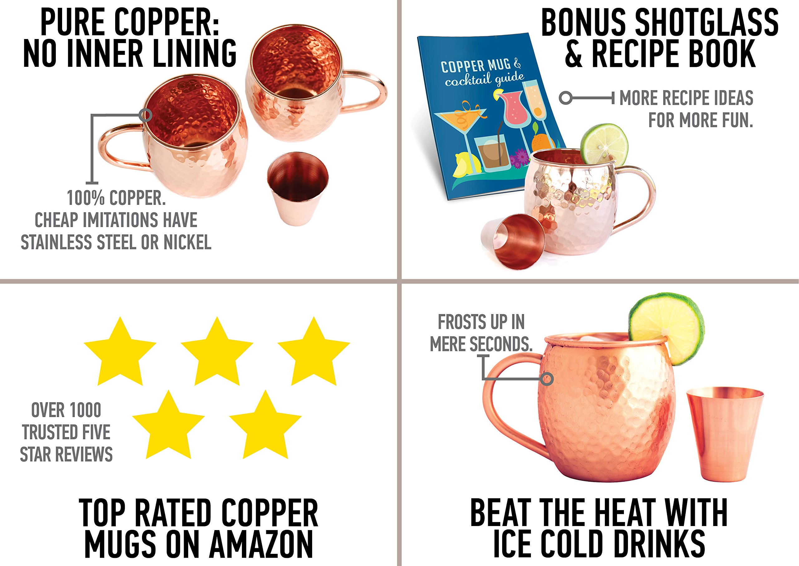 Set of 2 Moscow Mule Copper Mugs with Shot Glass - Two 16 Oz Copper Moscow Mule Mugs - Solid Copper Hammered Mug - Copper Cups for Moscow Mules by Willow & Everett (Image #3)
