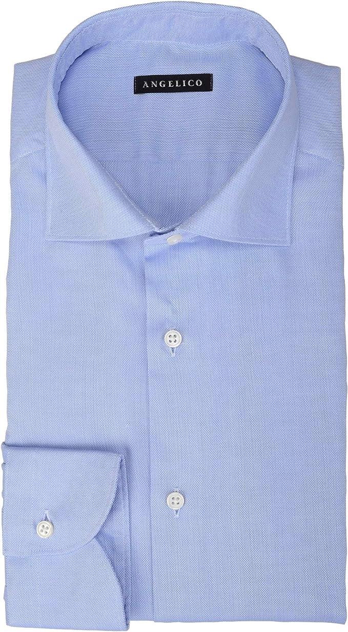 ANGELICO Camicia da Uomo Elegante con Manica Lunga - 100% Cotone - vestibilità Slim Fit