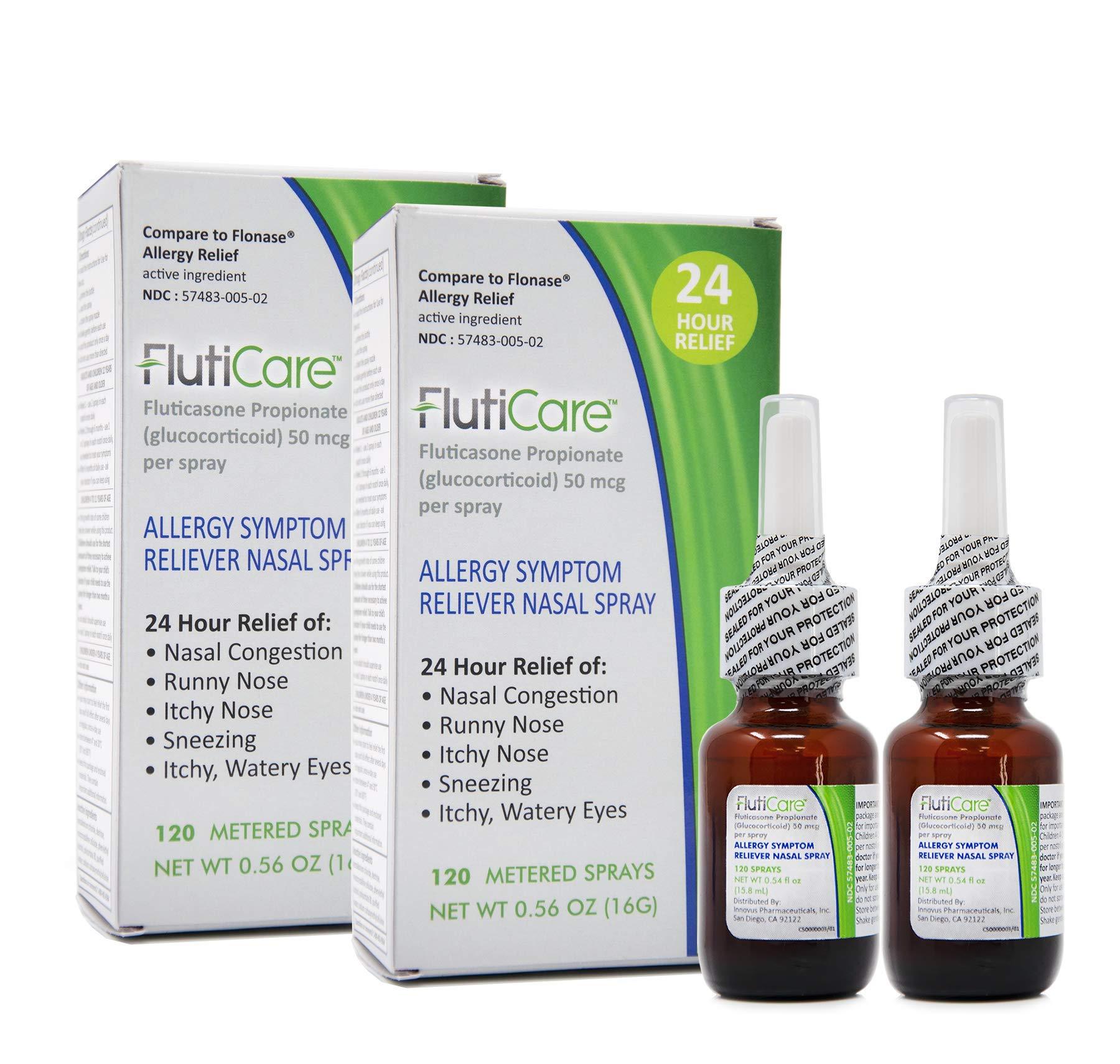 FlutiCare - 120 metered Nasal Sprays (2 Pack) | Fluticasone Propionate 50mcg | Relief