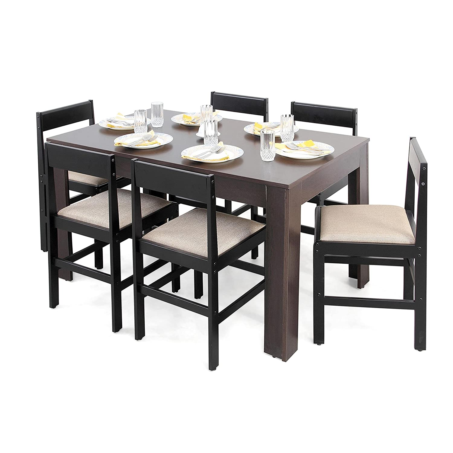 Dining table dimensions inches - Forzza Carter Six Seater Dining Table Set Matte Finish Wenge Amazon In Home Kitchen