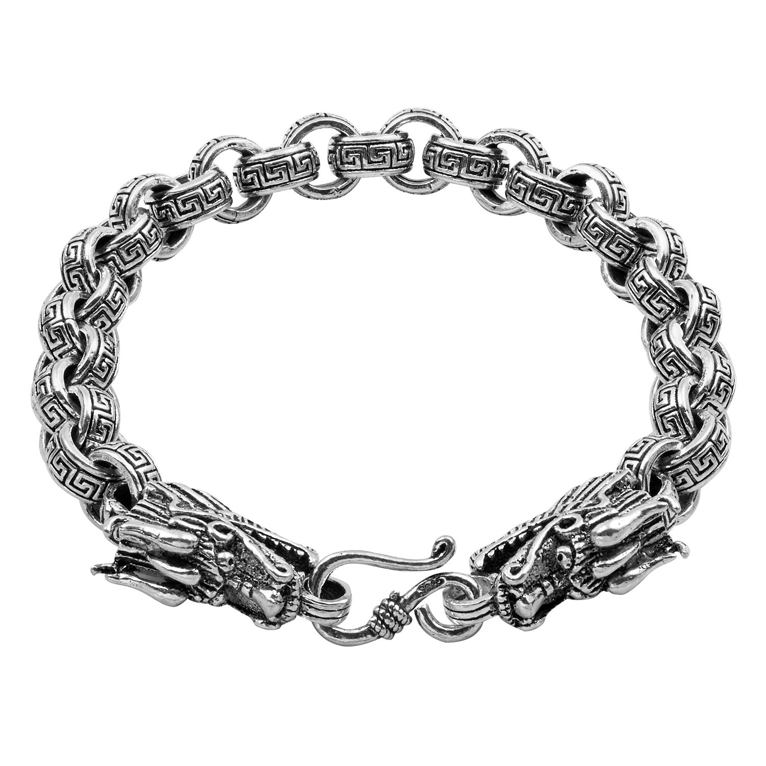 OS Sterling Silver 7mm Double Dragon Thick Rolo Chain Bracelet 7.5 8 or 8.5 HY US/_JWE/_B07MJ8S5KX