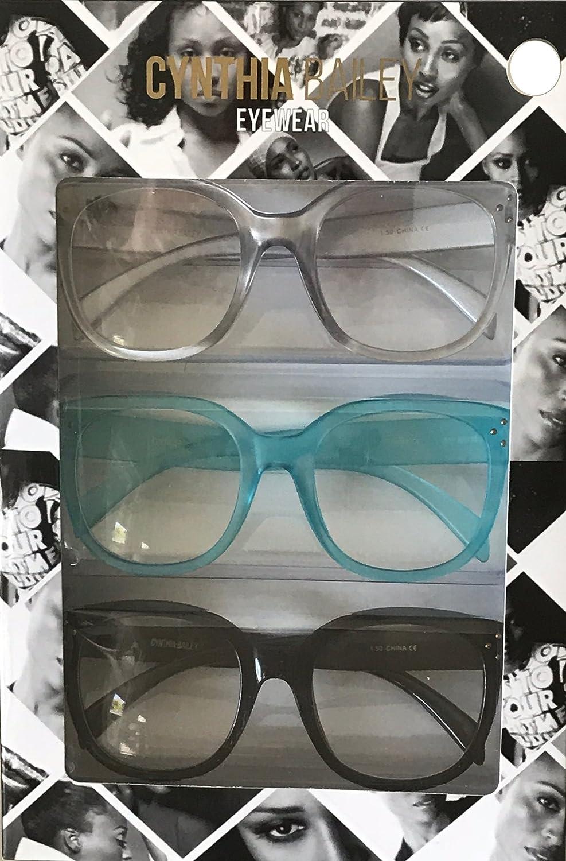 d6c0bbb51f Amazon.com  Cynthia Bailey Premium Fashion Reading Glasses 3 Pack +2.50  Strength  Health   Personal Care