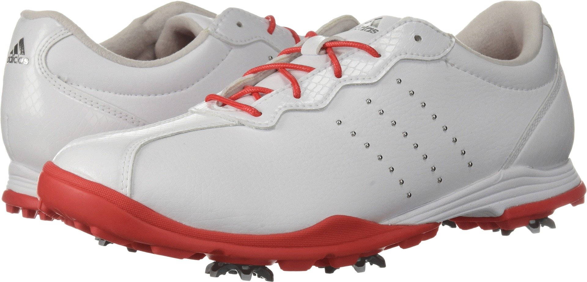 adidas Women's W Adipure DC Golf Shoe, FTWR White/Real Coral/Silver Met, 9 Medium US