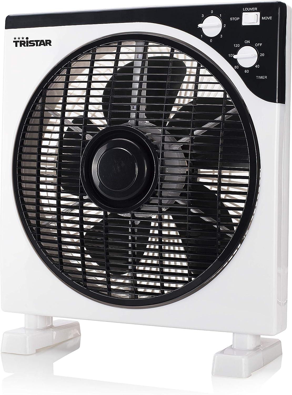 Tristar VE-5996 – Ventilador de caja 12 pulgadas con Función de temporizador y Diseño cuadrado, Negro/Blanco