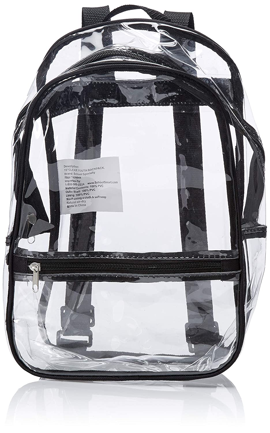 11dc9467daa7 School Smart Youth Backpack with Inside Pocket and Small Front Pocket with  Hidden Zipper - Clear
