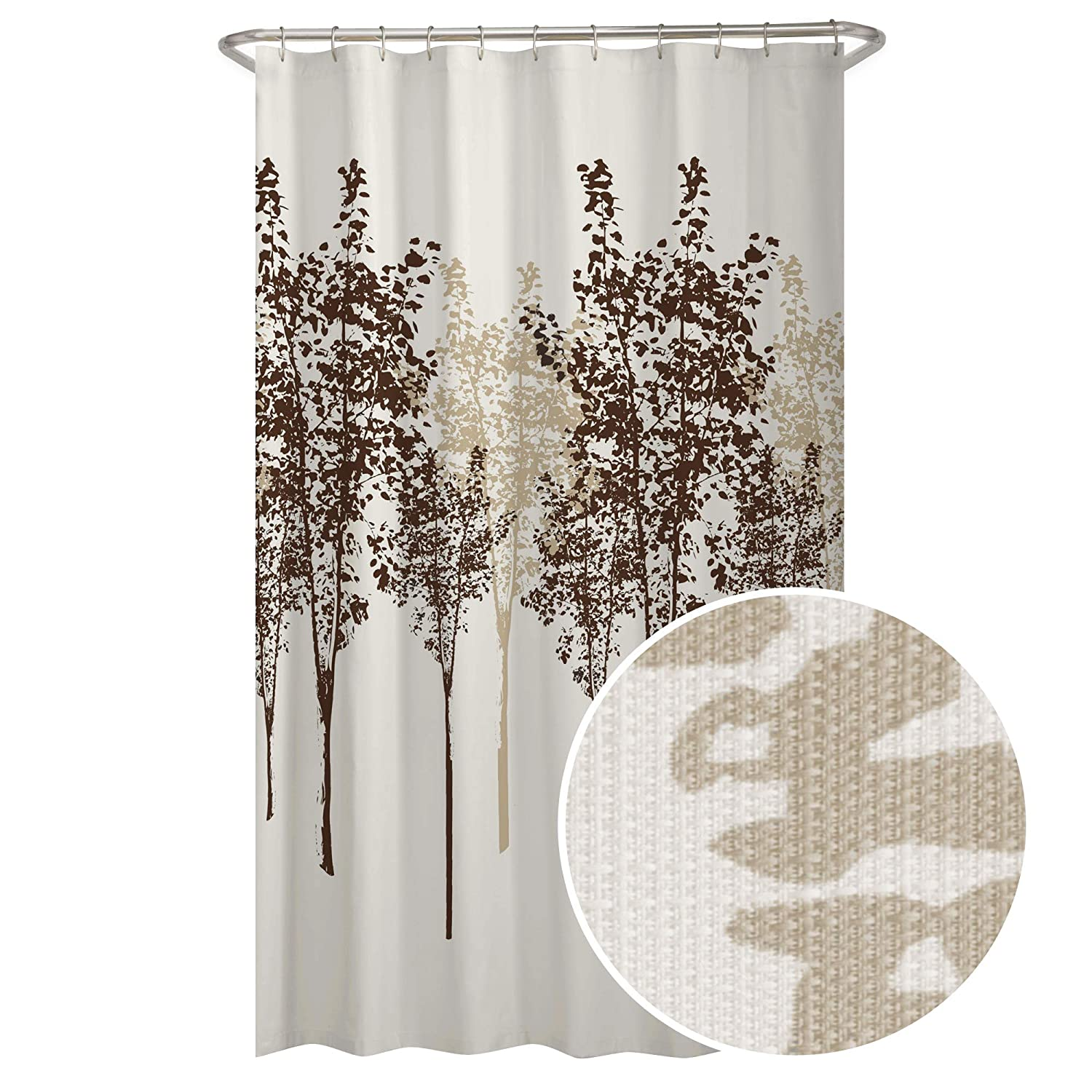 Amazon MAYTEX Delaney Tree Fabric Shower Curtain 70X72 Chocolate Home Kitchen