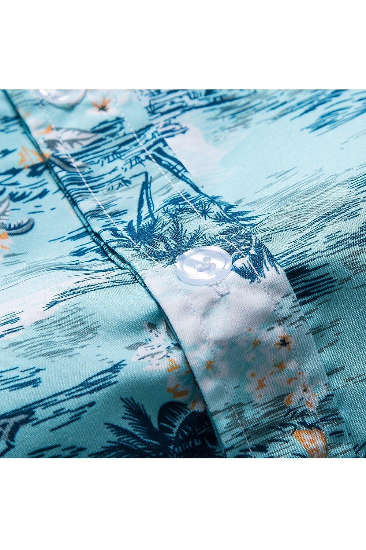 64c69f2c8d6c90 YACUN Uomini Sono Camicie Hawaiane Palma Vacanza Spiaggia Casual al Massimo:  Amazon.it: Abbigliamento