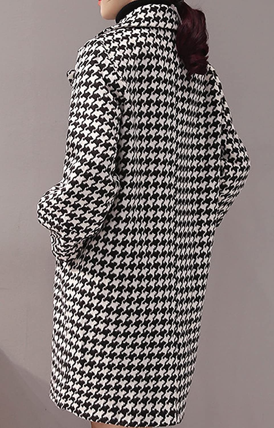 S&S Women's Houndstooth Two-Button Wide Lapel Stitching Sleeves Long Suit Blazer Woolen Coat
