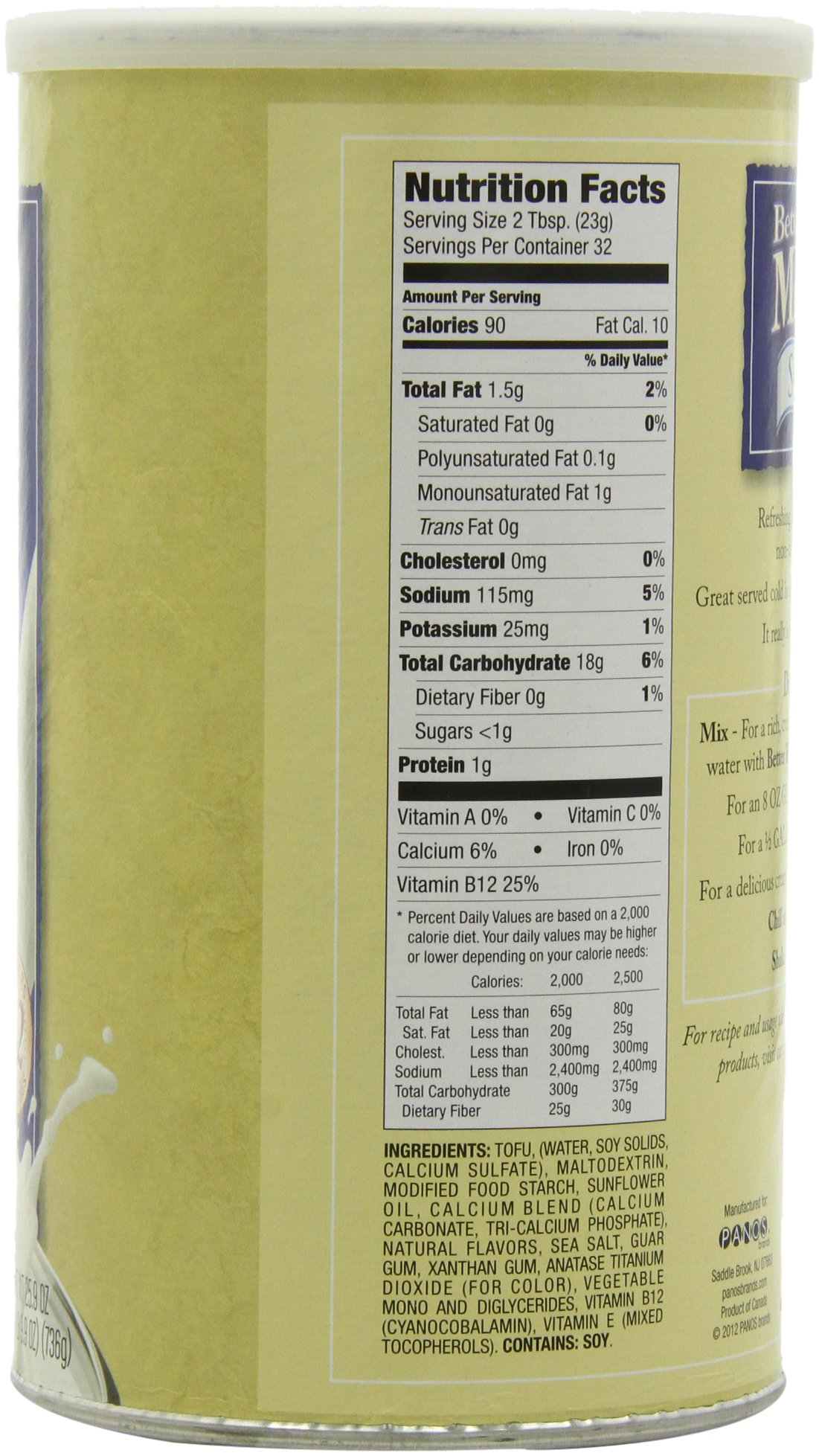 Better Than Milk Vegan Soy Powder, 25.9-Ounce Canisters (Pack of 2) by Better Than Milk (Image #4)