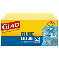 Glad Blue Recycling Bags - Tall 45 Litres - ForceFlex, Drawstring, 26 Trash Bags (packaging may vary)