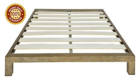 In Style Furnishings Stella Modern Metal Low Profile Thick Slats Support Platform Bed Frame - Queen Size, Gold