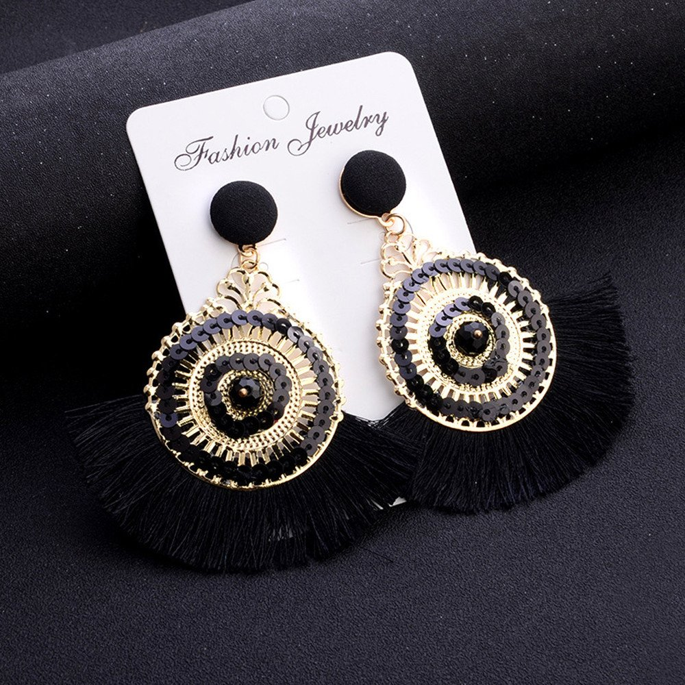 on Sale Openwork Style Big Circle Crystal Tassel Dangle Stud Earrings Pendant Fashion Jewelry for Girl VIiviplus Clearance Earrings for Women White