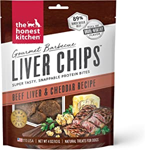 The Honest Kitchen Gourmet Barbecue Liver Chips Dog Treats - Tasty Protein Bites - 4 oz. Bag