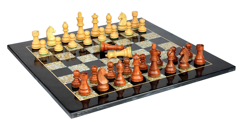 Stonkraft 21  x 21  Sammlerstück aus Schwarzm Marmor Schachspielbrett-Set aus Halbedelstein Perlmutt + Holzschachfiguren (mit 2 zusätzlichen Damen)