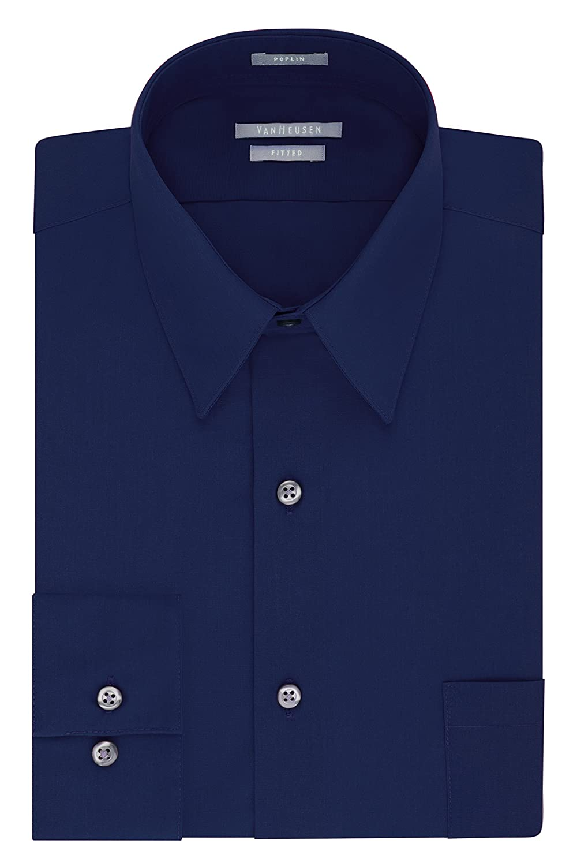 Van Heusen Men's Poplin Fitted Solid Point Collar Dress Shirt 20F8331