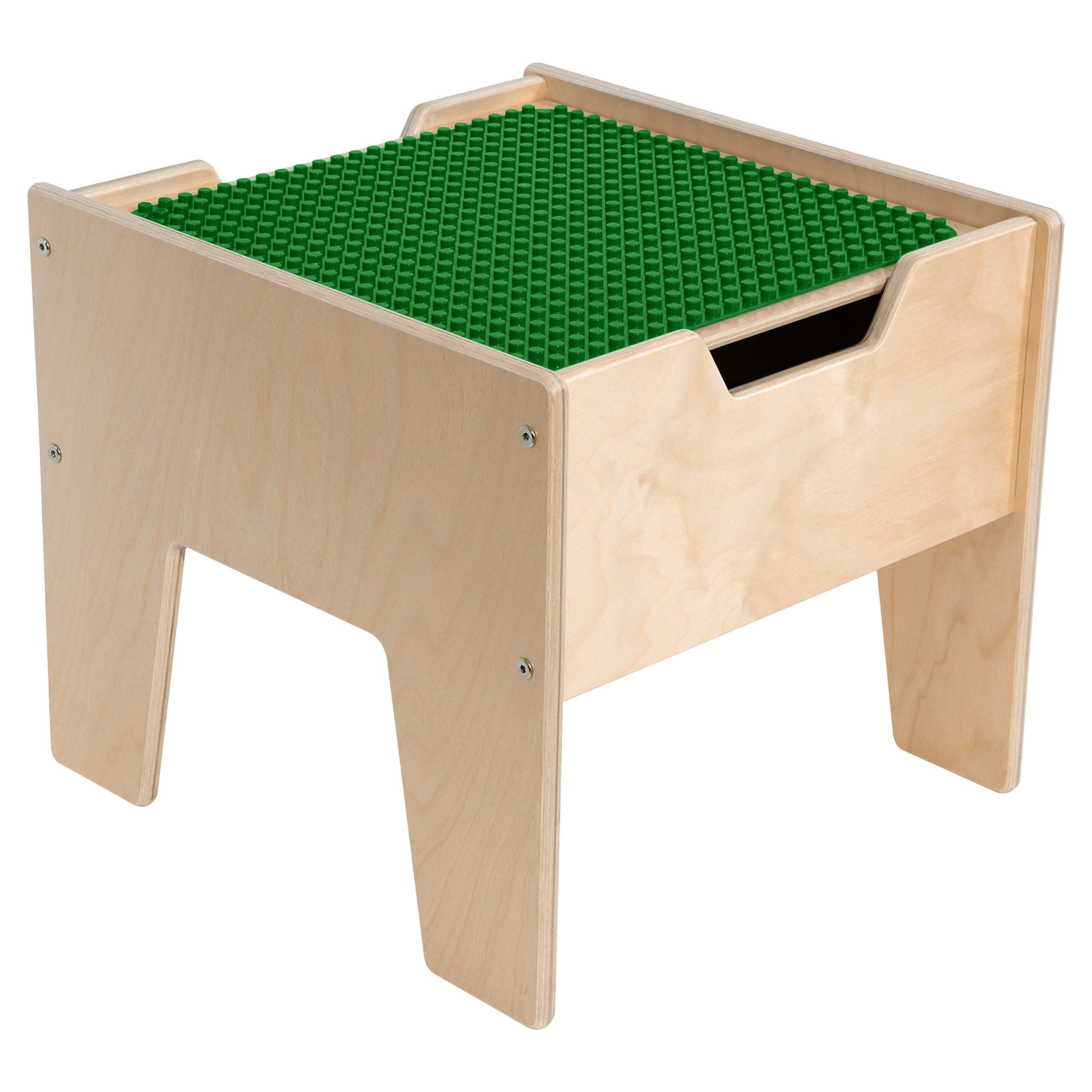 Contender C991300F-PG 2-N-1 Activity Table with DUPLO Compatible Top, Fully Assembled, Wood, Green/Natural