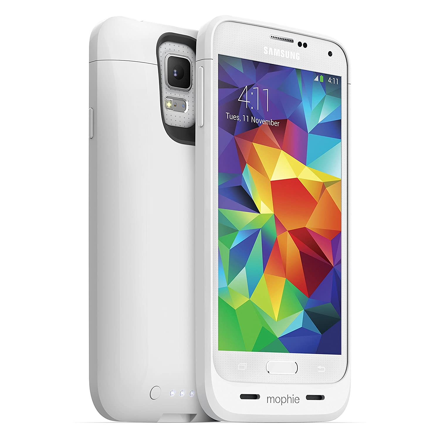 mophie 2327 Juice Pack External Recharagable Cell Phone Battery Case for Samsung Galaxy S5 (3,000 mAh) - White