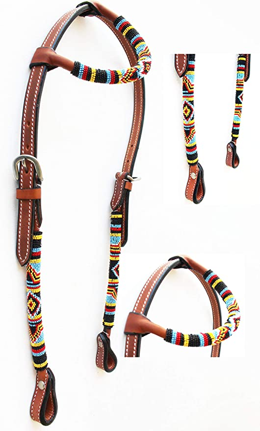 Equine Horse Show Saddle Tack Rodeo Bridle Western Leather Headstall 7867H