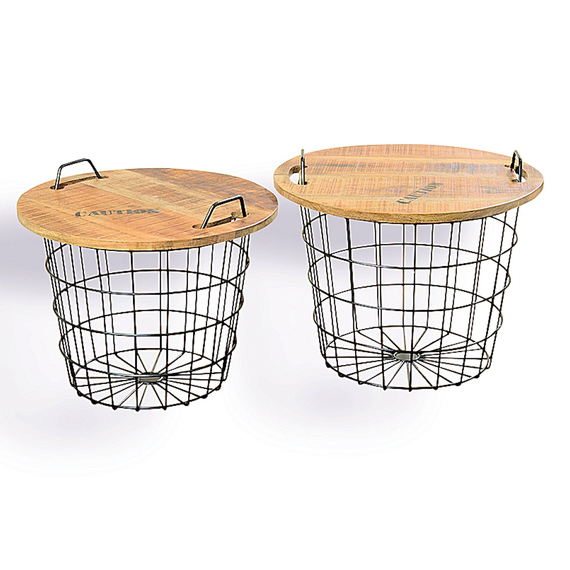 The Set of 2 Urban Chic Convertible Studio Tables or Baskets, Top Handles, Removable Tray Top, Distressed Vintage Style, Sustainable Wood, Metal, 2 Ft. and over 1 ½ Ft. Wide, By Whole House Worlds by Whole House Worlds