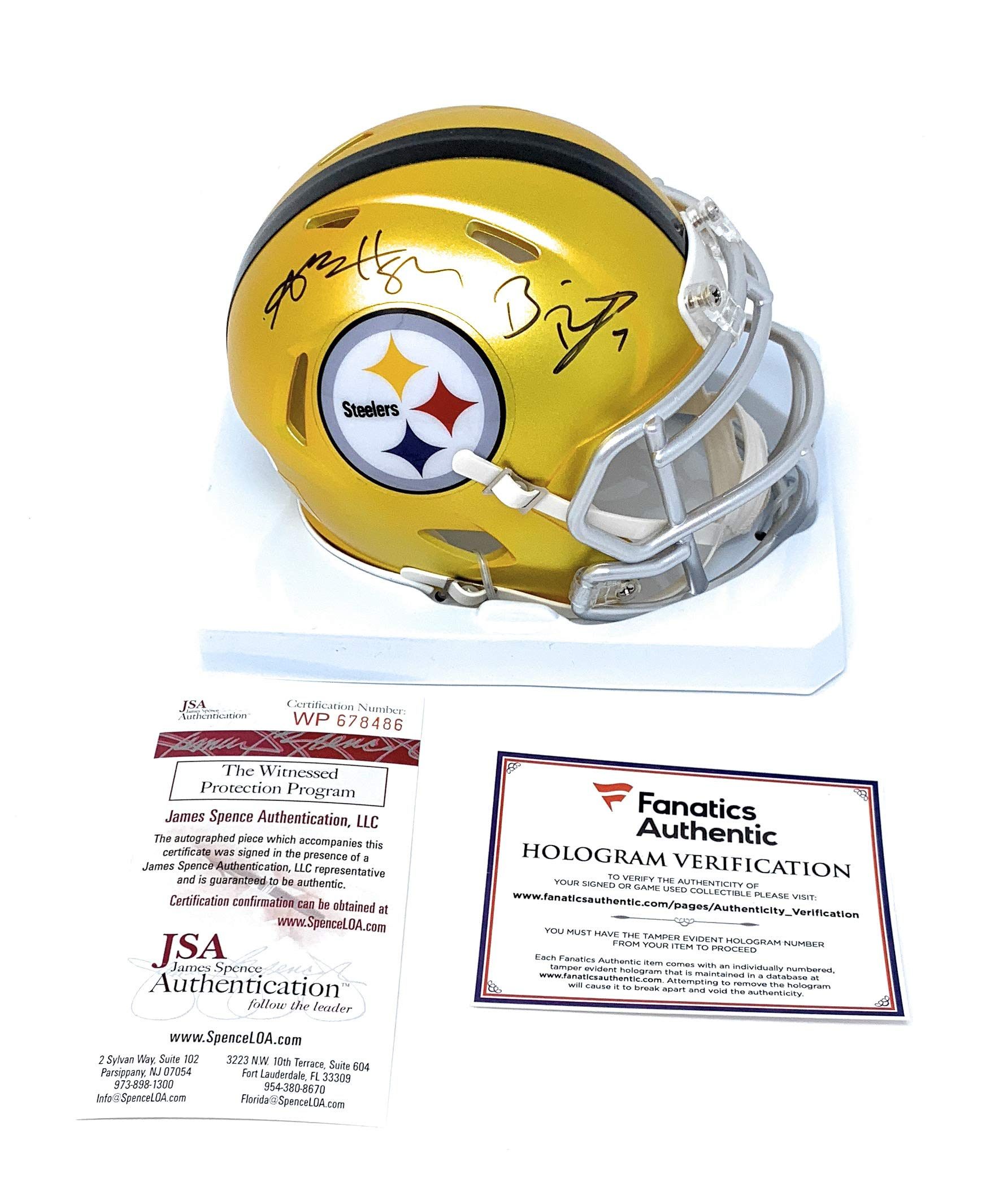 Ben Roethlisberger Antonio Brown Pittsburgh Steelers Dual Signed Autograph Blaze Speed Mini Helmet Fanatics Authentic JSA Witnessed Certified