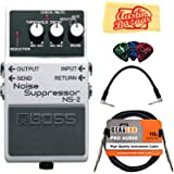 Boss NS-2 Noise Suppressor Bundle with Instrument Cable, Patch Cable, Picks, and Austin Bazaar Polishing Cloth