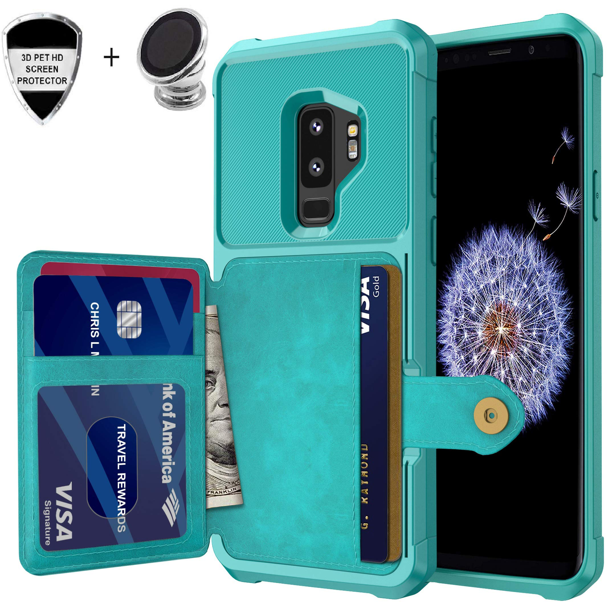 Galaxy S9 Plus Wallet Case, Sumsung S9+ Durable Shockproof Slim Magnetic Flip Leather Card Slots Holder Kickstand Protective Case Cover Included Car Phone Mount