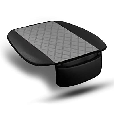 FH Group FB210102 Faux Leather/NeoSupreme Seat Cushion Pad with Front Pocket (Gray) Front Set – Universal Fit for Cars Trucks & SUVs: Automotive