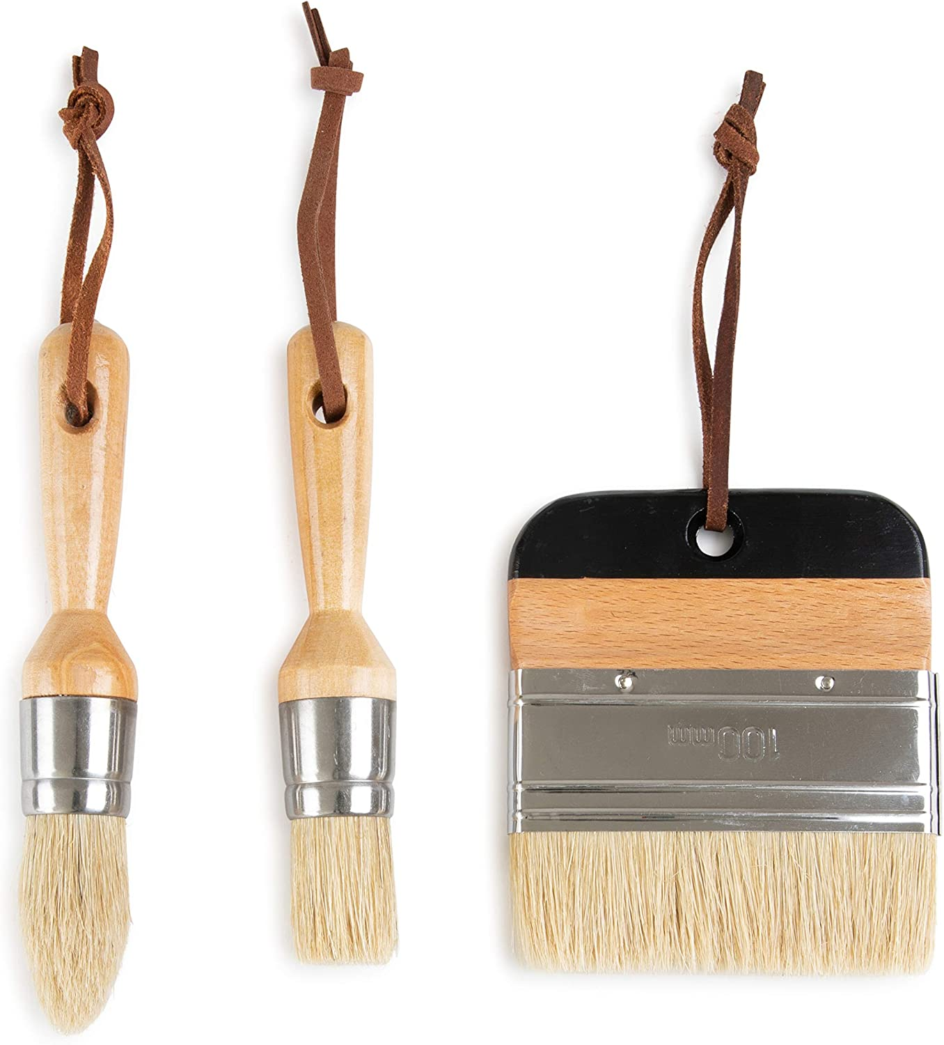 3 Piece Paint Brush Set by DIYARTZ Natural Bristles Perfect Chalk and Wax Paint Thick and Durable