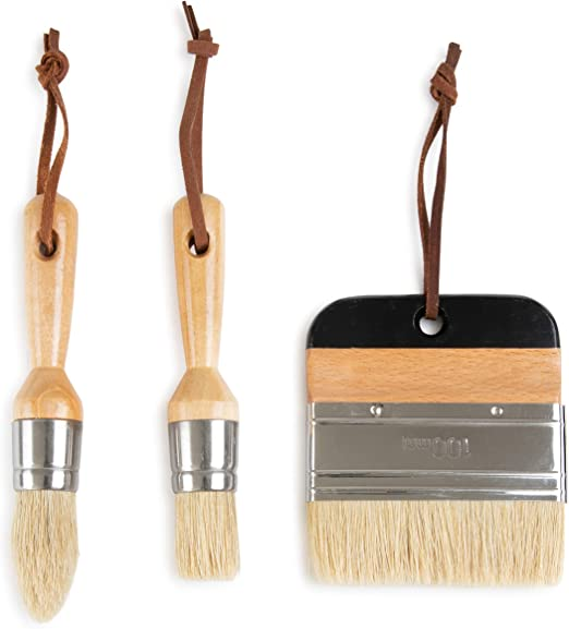Chalky Paint Brush Set for Painting Furniture with Wax Detail Brush Hobby Painting with Latex Paint