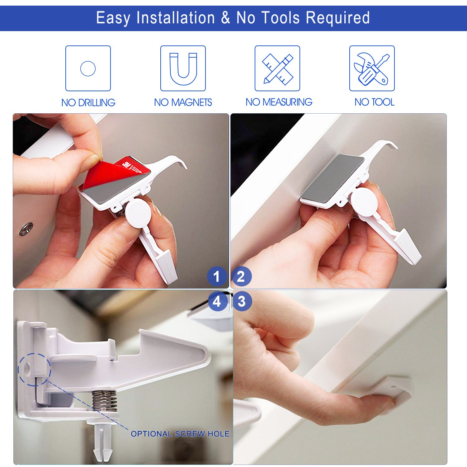 [10 Pack] Cabinet Locks Child Safety, Upgraded Baby Cabinet Safety Latches, No Tools Required, Invisible Design, Works for Most Cabinets, Drawers, Closets by AOSTAR (Image #3)