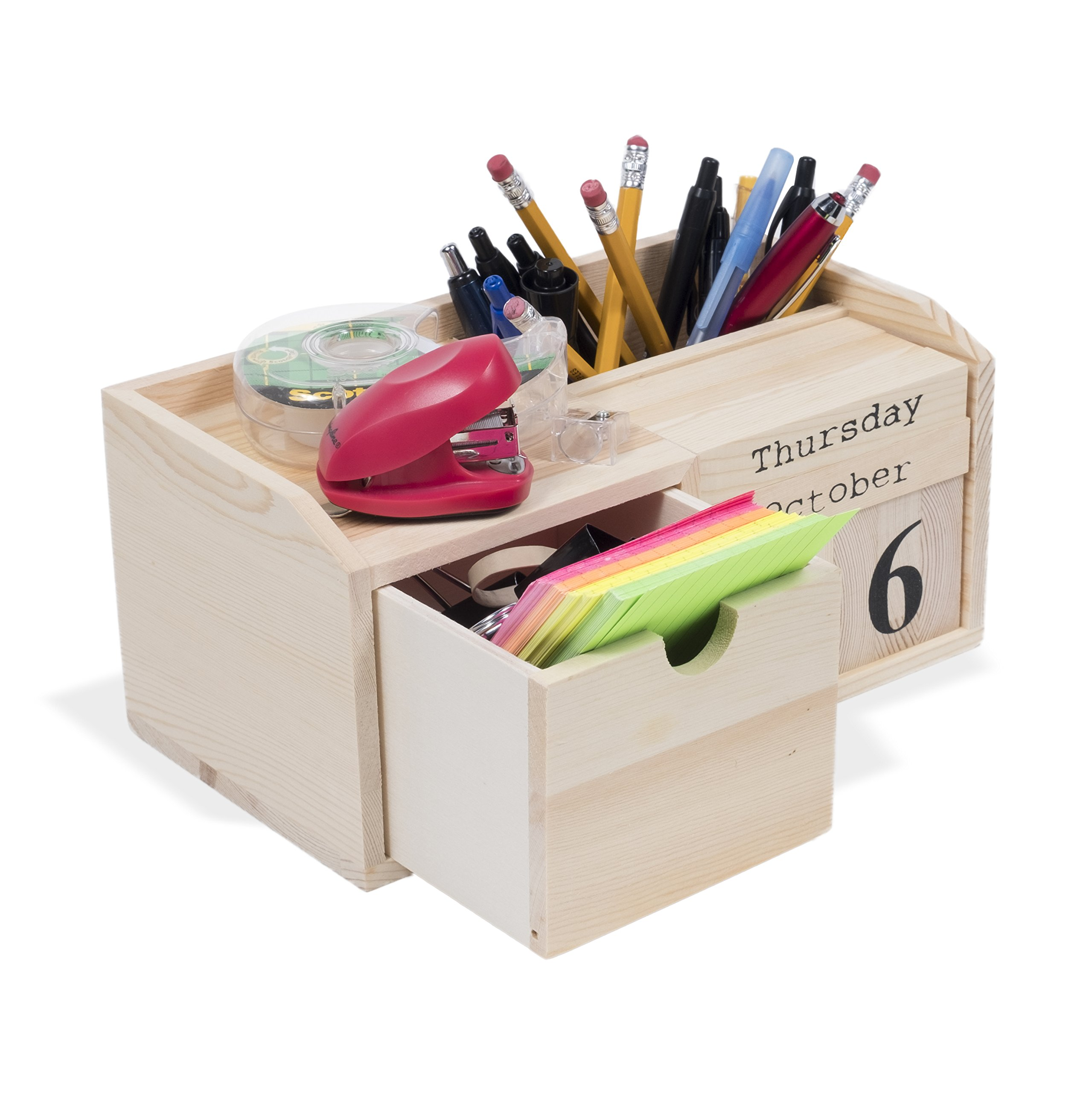Kid's School Supplies Organizer with Interchangeable Block Calendar Pencil Holder DIY Projects Unfinished Wood Natural
